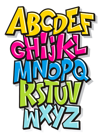 character set: Cartoon comic doodle font alphabet  Vector