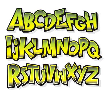 alphabet graffiti: Doodle c�mico dibujos animados alfabeto Vector fuente