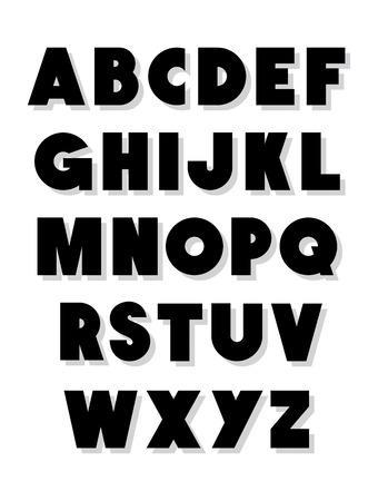 typeset: Bold alphabet font type  Vector alphabet Illustration
