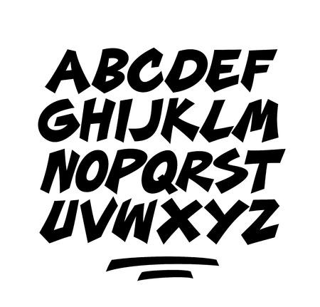 Cartoon comic graffiti doodle font alphabet  Vector Vector
