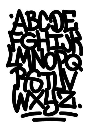 Hand written graffiti font alphabet  Vector Vector