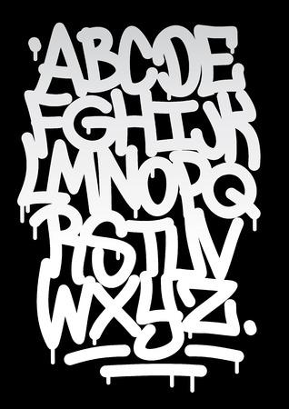 Hand geschreven graffiti lettertype alfabet Vector