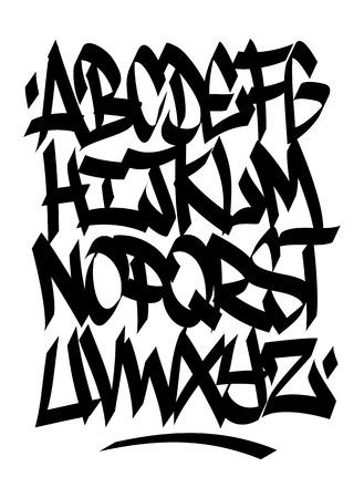 abecedario graffiti: Tipo de fuente de graffiti escrito a mano alfabeto Vector