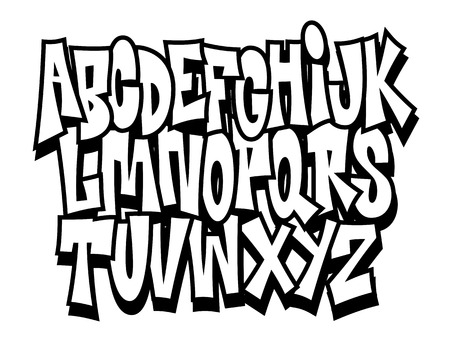 Graffiti cartoon comic doodle font alphabet. Vector