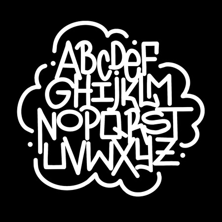 Hand written lettering graffiti font alphabet. Vector Illustration