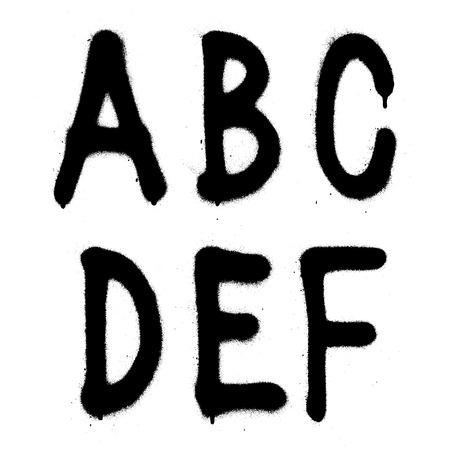 grafitis: Mano escrito grafitis tipo de fuente alfabeto. Vector (parte 1) Vectores