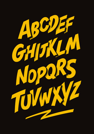 hop: Graffiti comics style font. Vector alphabet