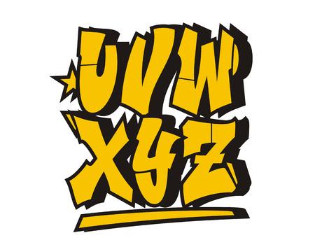abecedario graffiti: Fuente del estilo de la pintada. El alfabeto del (parte 3)