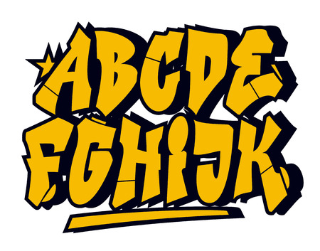graffiti art: Graffiti style font type. Vector alphabet (part 1) Illustration