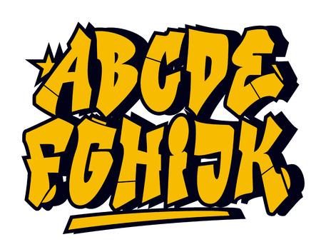alphabet graffiti: Graffiti tipo di carattere di stile. Vector alfabeto (parte 1) Vettoriali