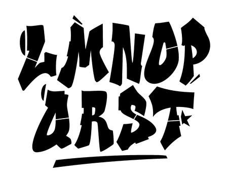 alfabeto graffiti: Graffiti tipo di carattere di stile. Vector alfabeto (parte 2)