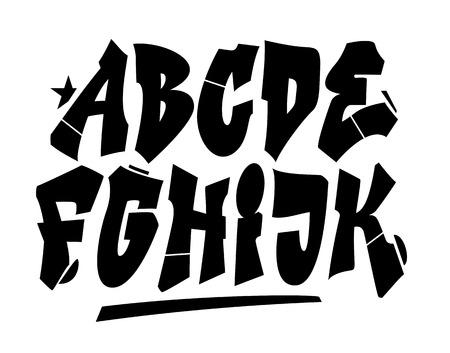 alfabeto graffiti: Graffiti tipo di carattere di stile. Vector alfabeto (parte 1) Vettoriali