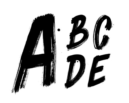 Hand written brush font type alphabet. Detailed vector