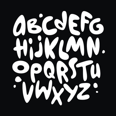 Cartoon comic graffiti font alphabet. Vector