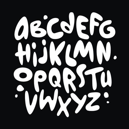 pila bautismal: Cartoon graffitis cómico alfabeto fuente. Vector Vectores