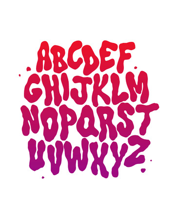 hippies: Abstract font. Vector alphabet