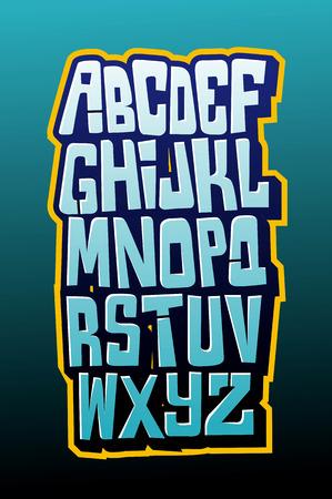 alphabet graffiti: Graffiti carattere letttering stile fumetto. Vector alfabeto