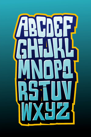 Graffiti comics style letttering font. Vector alphabet Çizim