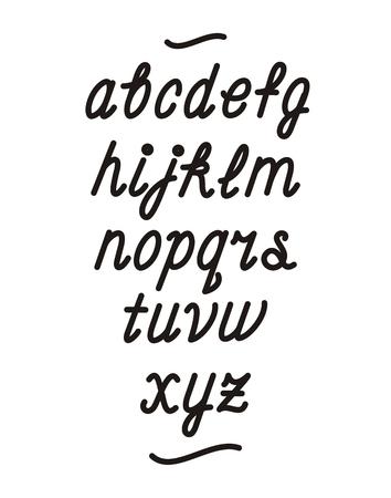 cursive: Hand drawn cursive font. Vector alphabet
