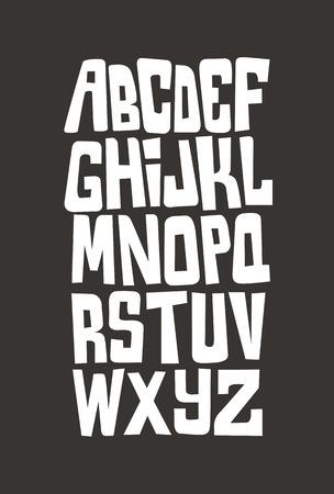 graffiti: Cartoon graffitis cómico alfabeto fuente. Vector Vectores