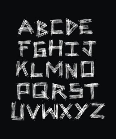written: Scratched surface. Hand written alphabet. Vector Illustration