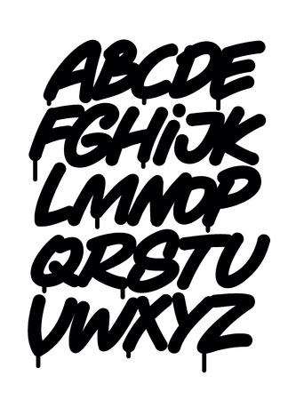 Hand written graffiti font alphabet. Vector Çizim
