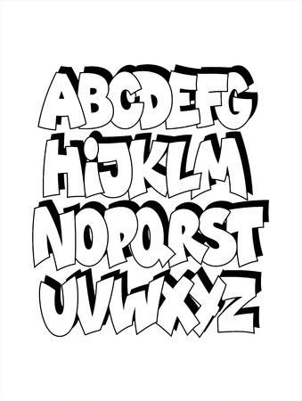 abecedario graffiti: Cartoon graffitis cómico alfabeto fuente. Vector Vectores