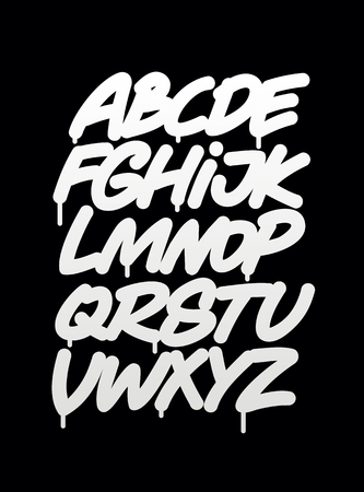 cepillo: Mano escrito alfabeto fuente graffiti. Vector