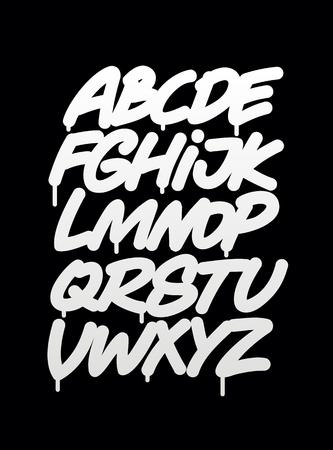 Mano scritto alfabeto carattere graffiti. Vettore Vettoriali