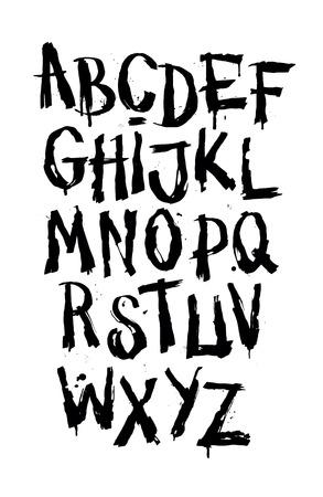 Hand drawn grunge font. Detailed vector alphabet Vettoriali