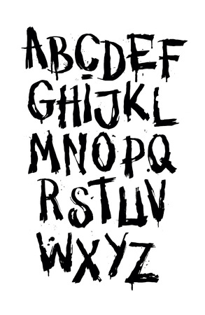 grafitis: Dibujado a mano la fuente del grunge. alfabeto detalle vector