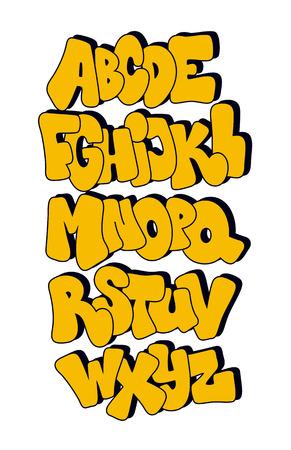abecedario graffiti: Fuente de estilo cómic. El alfabeto del