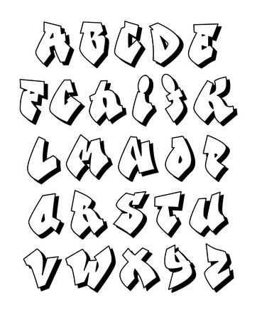 Graffiti alphabet. Vector