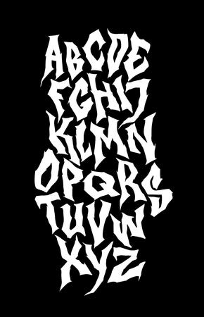 Spooky hand lettering font. Vector alphabet Illustration