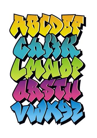 cartone animato brillante carattere graffiti fumetti. Vector alfabeto Vettoriali