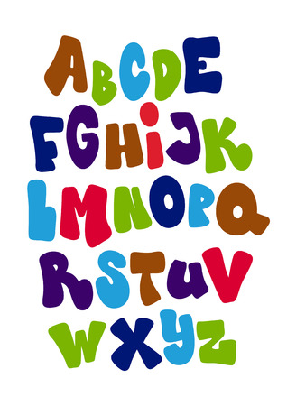 alphabets: Bright cartoon comic graffiti font. Vector alphabet