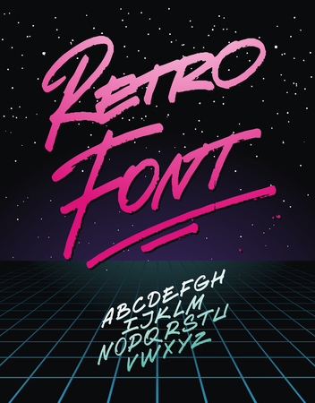 Retro font on light grid background. Vector alphabet Illustration