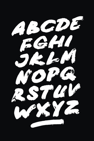 Hand drawn grunge font. Detailed vector alphabet Çizim