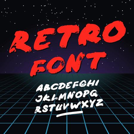 Retro font on light grid background. Vector alphabet Çizim