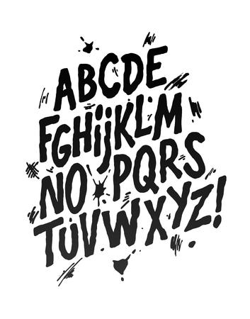 Hand lettering font. Vector alphabet