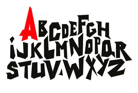 lines comic graffiti font. Vector alphabet Çizim