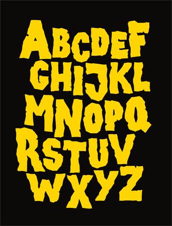 Hand drawn stone grunge font. Editable vector alphabet 向量圖像