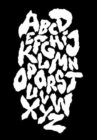 Ragged horror font. Vector alphabet Çizim