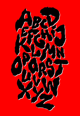 Ragged horror font. Old style. Vector alphabet