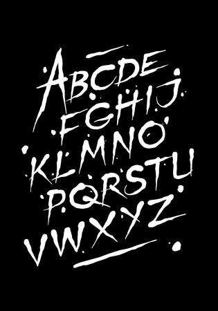Hand drawn ink font. Editable vector alphabet