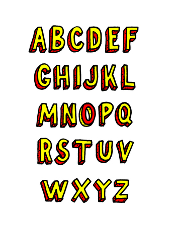 Doodle brick font. Vector alphabet