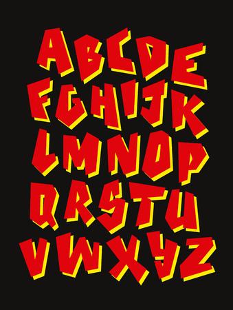 Graffiti font. Editable vector alphabet Çizim