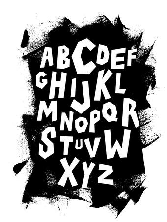Hand lettering font on grungy background. Vector alphabet Çizim