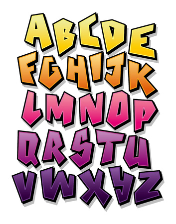 Bright cartoon comic graffiti font. Editable vector alphabet Illustration