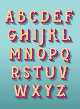 Original retro font. Vector alphabet Çizim
